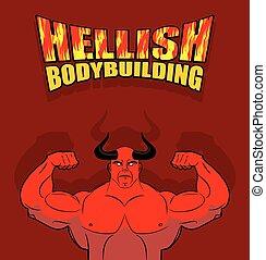 satan, underworld., muscles., biceps., fitness, hellish, strongman, riesig, hell., vektor, hall., turnhalle, abbildung, teufel, hörner, groß, rotes , bodybuilding., illustration.