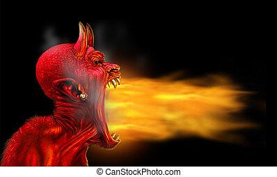 satana, fiamme, su, nero