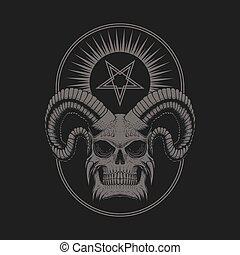 satanic, 頭骨, 悪魔, イラスト, ベクトル