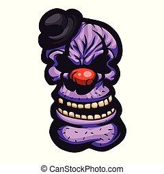 Satanic clown cartoon illustration