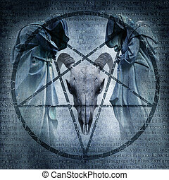 Satanic Mass graphic with two hooded figures and a demonic...
