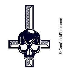 Satanic symbol with inverted skull dead aggressive head of...