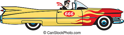 The devil hits the town in a hopped up '59 Caddy convertible with the top down and the pedal to the metal. Editable vector file