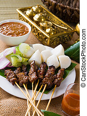 Satay a traditional malaysian indonesian roasted meat skewer