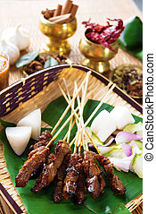 Satay Malay food - Beef satay, roasted meat skewer Malay...