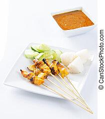 satay roasted kebab meat isolated on white