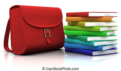 red satchel and stack of colorfull books - 3d illustration/rendering