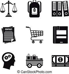 Satchel icons set, simple style