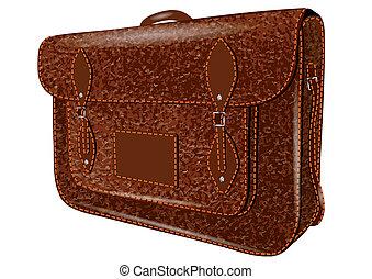 satchel. leather bag isolated on white background