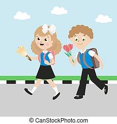 satchels., plat, bell., character., écolier, garçon, eps10., illustration, arc, écolière, class., vecteur, aller, girl, fleurs, premier