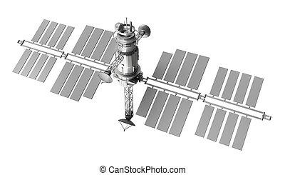 satelita, biały, na, odizolowany