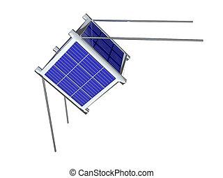 satelita, biały, nano, odizolowany