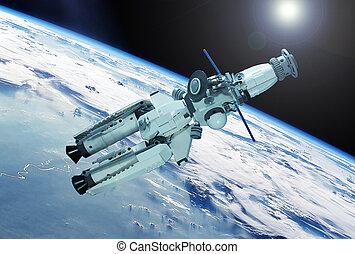satelita, elementy, przestrzeń, to, wizerunek, dostarczony, nasa, nad, earth.
