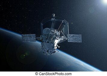 satelita, elementy, przestrzeń, to, wizerunek, dostarczony, wielki, nasa, nad, earth.