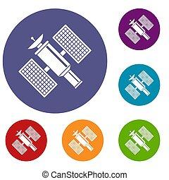 satelita, komplet, przestrzeń, ikony