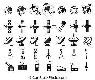 satelita, wektor, ikony