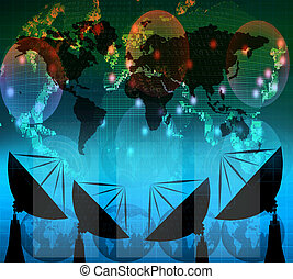 satelite, digital, blaues, farbe, tellergericht, daten