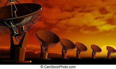 Satelite dishes - The radio-aerials on sky background