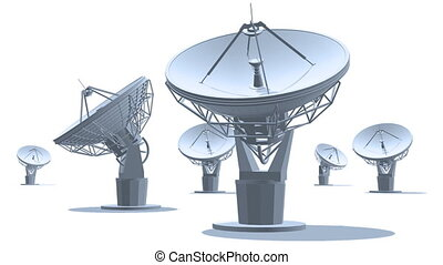 Satelite dishes - The radio-aerials on white background