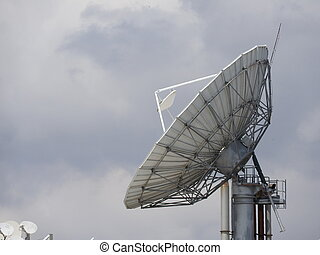 satelite, mondiale, communication., plat