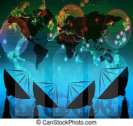 satelite, numérique, bleu, couleur, plat, données