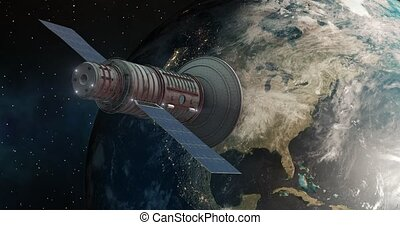 Satelite orbits over North America 4K