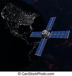 Satelite sputnik orbiting earth in space - Satelite sputnik...