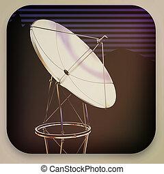 satelliet, illustration., ouderwetse , schaaltje, 3d, style., pictogram