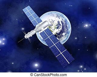 satelliet, op, de aarde