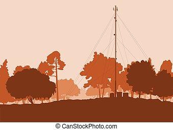 satelliet, telecommunicatie, televisie antennes, vector,...
