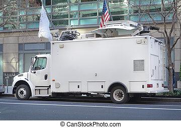 satelliet, televisie, straat, vrachtwagen, geparkeerd, dak, ...