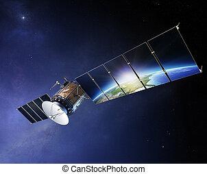 satellietcommunicatie, met, aarde, weerspiegelen, in, zonne,...