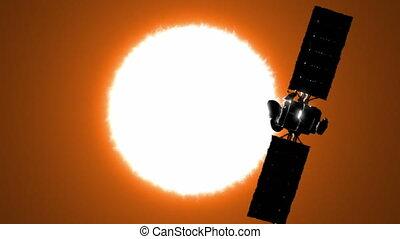 satellit, gleichfalls, umkreisend, der, sonne