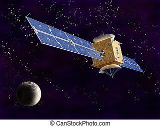 satellit, in, raum
