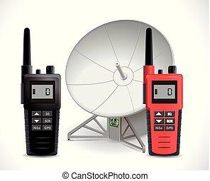 satellit meddelanden, begrepp, -, walkie ljudfilm, radio