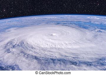 satellit, photo., aus, -, planet, taifun, erde