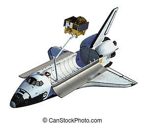 satellit, raum, hintergrund, schiffchen, weißes, einsetzen