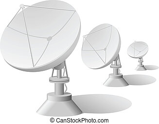 satellit, vektor, abbildung, geschirr, reihe