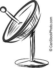 satellit, vektor, skizze, abbildung, dish.