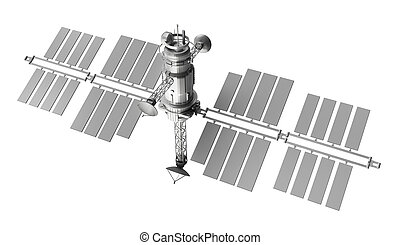 satellit, vit, över, isolerat
