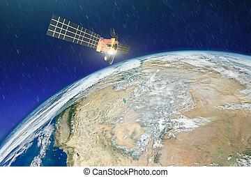 satellite, éléments, meublé, ceci, sur, orbit., temps, image, la terre, sécheresse, désert, nasa