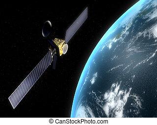 satellite - 3d rendered illustration of a satelilte flying...