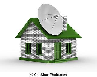 satellite, aérien, image, house., isolé, 3d