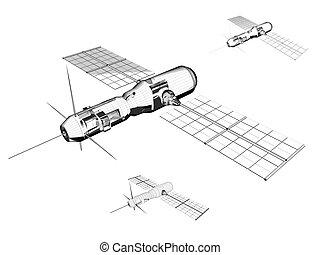 Satellite - A communication/scientific satellite. Wireframe...