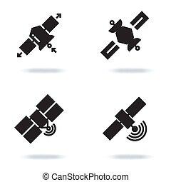 Satellite and orbit communication icons isolated on white background