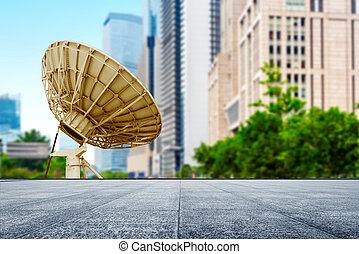 Satellite Antenna - Satellite dish under the background of...
