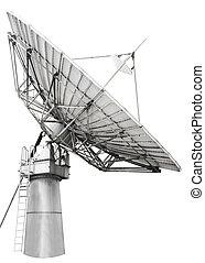 satellite, antenne, transatlanti, grand, plat, conçu,...