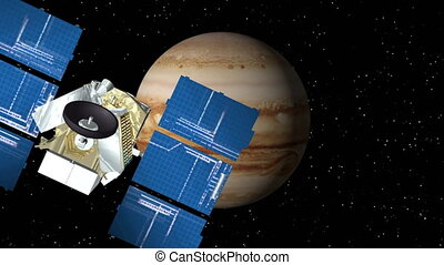 Satellite Approaches Jupiter - 3D animation of satellite...