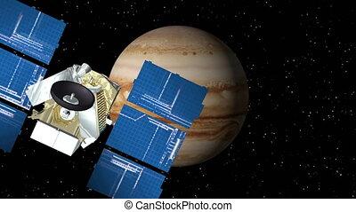 Satellite Approaches Jupiter - 3D animation of satellite...