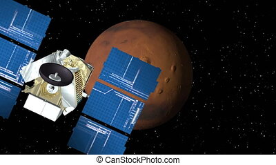 Satellite Approaches Mars - 3D animation of satellite...